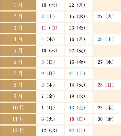 寅の日カレンダー【2018年(平成30年)】